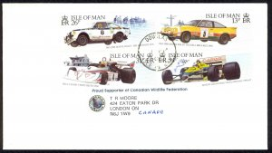 Isle of Man Sc# 359-362 on cover 1988 2.10 Car Racing