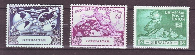 J22145 Jlstamps 1949 gibraltar hv,s of  set mh #124-6 upu