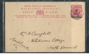 MAURITIUS COVER (P3006B)  1903 6C/8C PSC SENT TO ENGLAND WITH MSG  PORT LOUIS