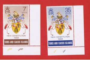 Turks & Caicos Islands #200-201   MNH OG  Coat of Arms Free S/H