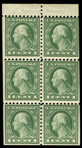US #424d VF/XF mint never hinged booklet pane, tough to find well centered, F...