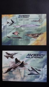 Burundi 2012. - Aviation - Planes military ** MNH sheet + Block (perforated)