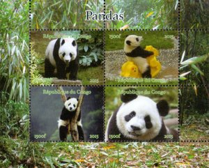 Congo 2015 Panda Animals 4v Mint souvenir Sheet S/S. (#15)