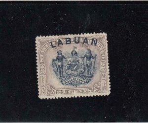 LABUAN (MK4395)  # 82  VF-MH  24cts COAT OF ARMS /GREY-LILAC & BLACK CAT VAL $15