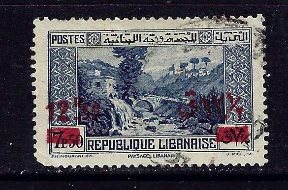 Lebanon 151 Used 1939 surcharge slightly rounded corner