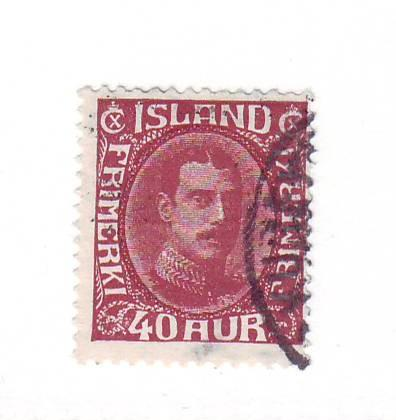 Iceland Sc 184 1931 40 aur Christian X stamp used