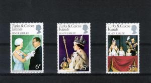 Turks & Caicos 1977 Silver Jubilee Set (3) MNH Sc#321/323