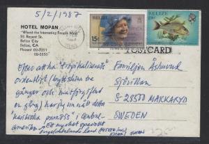 BELIZE  (P1712B)  QEII+FISH 25C PPC TO SWEDEN