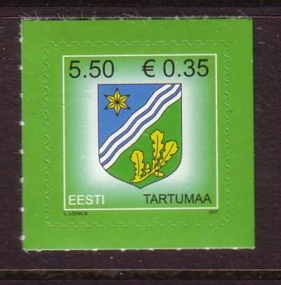 Estonia Sc573 2007 Coat of Arms stamp Euro Added NH
