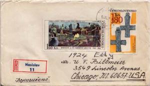 Czechoslovakia, First Day Cover, Czechoslovakia, Registered, Art