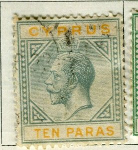 CYPRUS; 1922 early GV issue fine used 10pa. value