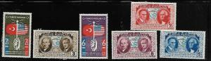 TURKEY 817-822 MNH US CONSTITUTION ANNIVERSARY 1939