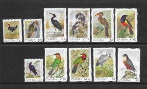 BIRDS - ZAMBIA #377-87  MNH