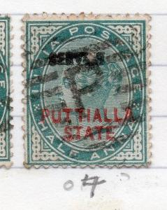 Indian States Patiala 1885-90 Early Issue Fine Used 1/2a. Optd 198829