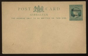 Morocco Agencies overprinted on QV Gibraltar 5 centimos unused Post card