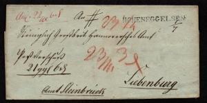 $German Stampless Cover, Hoheneggelsen-Liebenburg (56mm x 5mm) (No Franko)