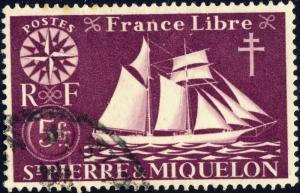 St-PIERRE-&-MIQUELON - 1942 - Yv.307/Mi.310 5fr lilas - Oblitéré TB