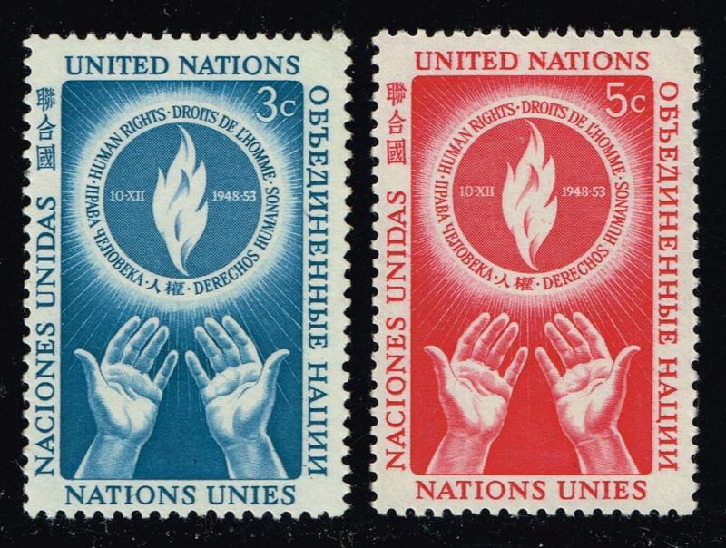 UN New York #21-22 Human Rights Day Set of 2; MNH (1.30)