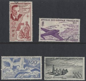 French West Africa #C11-14 used set; air mail, various designs