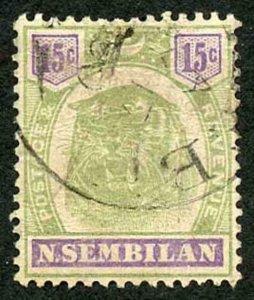 Negri Sembilan SG11 1895 15c green and violet Fine used