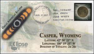17-231, 2017, Total Solar Eclipse, Casper WY, Event Cover, Pictorial Cancel,