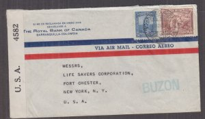 COLOMBIA, 1942 Censored Airmail cover, Barranquilla to USA, 5c., 30c.