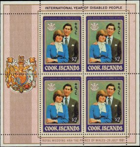 1981 Cook Islands #B97-B98, Complete Set(2), Sheets of 4, Never Hinged