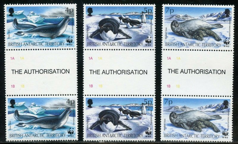BRITISH ANTARCTIC TERRITORY GUTTER PAIR SET  SCOTT#192/97  MINT NH--SCOTT $29.00