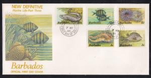Barbados # 640-641, 650, 654-656, Marine Life,First Day Cover