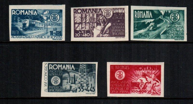 Romania  b304 - b308 MNH trail color imperf