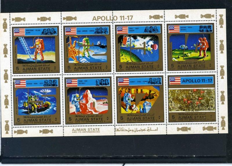 AJMAN 1973 Mi#2669-2676A SPACE RESEARCH/APOLLO 17 SHEET OF 8 STAMPS  MNH