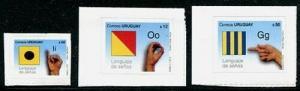 HERRICKSTAMP URUGUAY Sc.# 2369, 2371-72 Sign Language - I, G, O Self-Adhesive