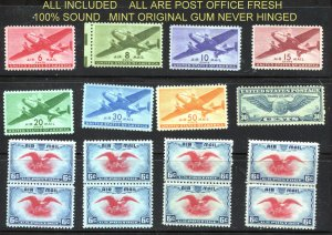 Quality Mint AIR selection  17 stamps total C24-C31 +C23(8)