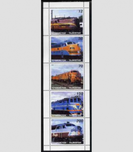 Tadjikistan 1998 Trains Locomotives Strip Perforated mnh.vf