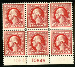 US Stamps # 526 VF-XF OG NH PB of 6 Scott Value $450.00