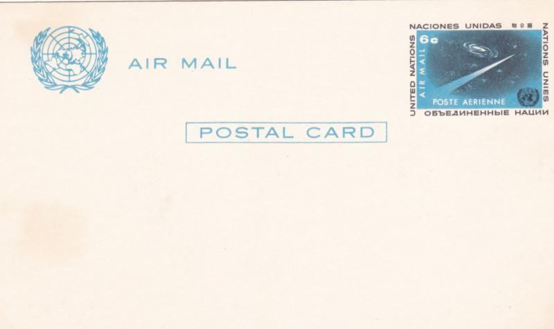 United Nations 6c Prepaid Airmail Postcard Unused VGC