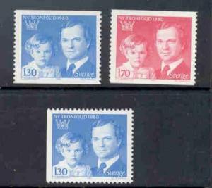 Sweden Sc 1318-20 1980 Crown Princess King stamp set mint NH