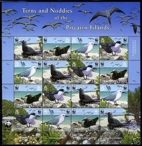 WWF PITCAIRN ISLAND TERNS AND NODDIES BIRDS SHEET OF 16