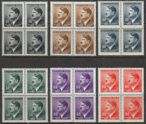 Stamp Germany Bohemia B&M Mi 089-94 Sc 62-67 Block 1942 WWII Fuhrer Hitler MNH