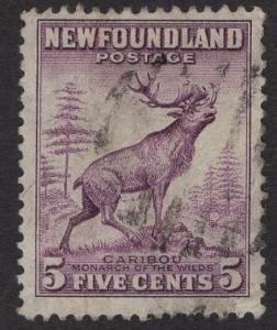 Newfoundland  #190  used  1932   5c caribou