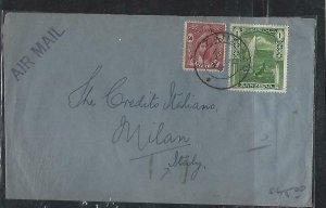 ZANZIBAR  (PP2608B)  1948   SULTAN 50C+1/- A/M TO ITALY WITH ARRIVAL B/S