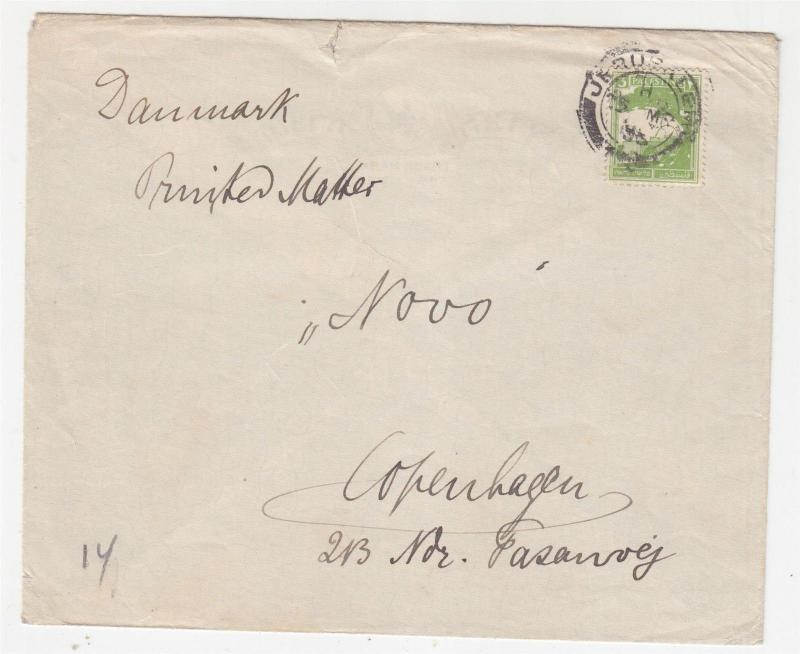 PALESTINE, 1935 3m. Printed Matter Rate cover, Jerusalem to Denmark.