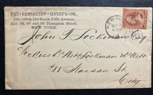 1884 New York USA  Advertising Cover The kursheedt Manufacturing