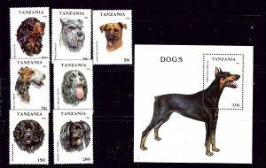 Tanzania 1144-51 MNH 1993 Dogs complete   #2