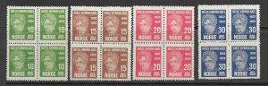 Norway 145-8 MNH cpl. set x 4, vf. 2022 CV $ 180.00