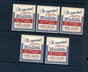 5 VINTAGE 1942 LINEN SUPPLY ASSN EXPO POSTER STAMPS (L883) FRENCH LICK, INDIANA