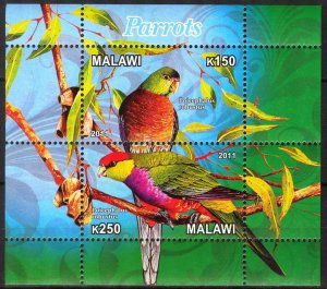 Malawi 2011 Birds (8) Parrots MNH Cinderella !