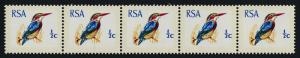 South Africa 351a Coil strip of 5 MNH Birds, Kingfisher