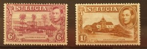 St Lucia Postage Stamps SG134b/135a UM/M Condition 1938