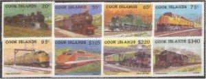 Cook Islands - 1985 Locomotives - 8 Stamp Set - Scott #858-65